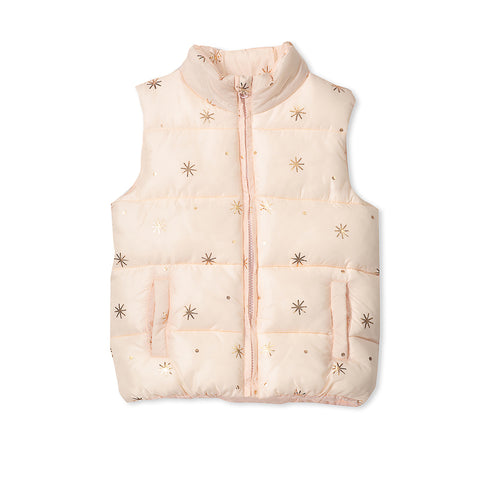 Milky Puffer Vest - Dusty Blush