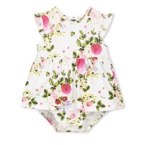 Milky Rosebloom Baby Dress - White