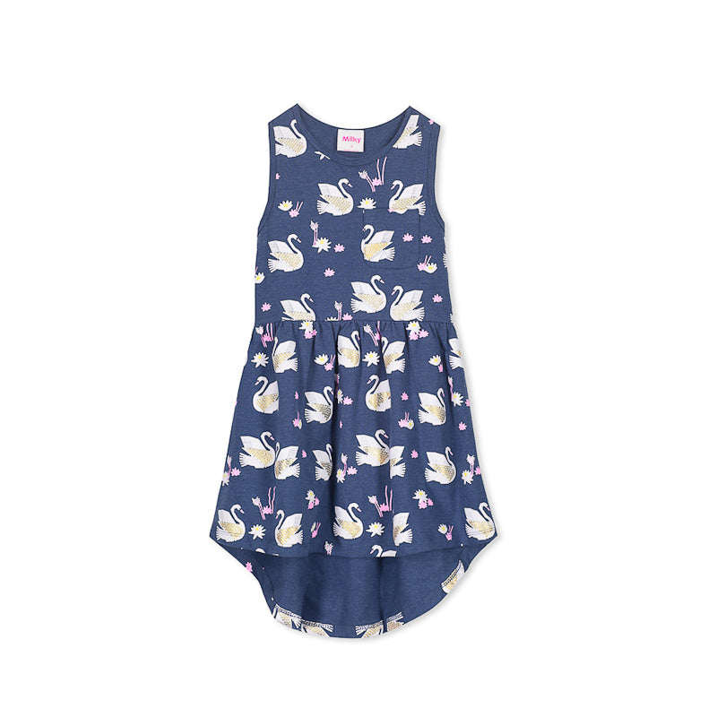 Milky Swans Dress - Denim Dress Milky - Little Styles