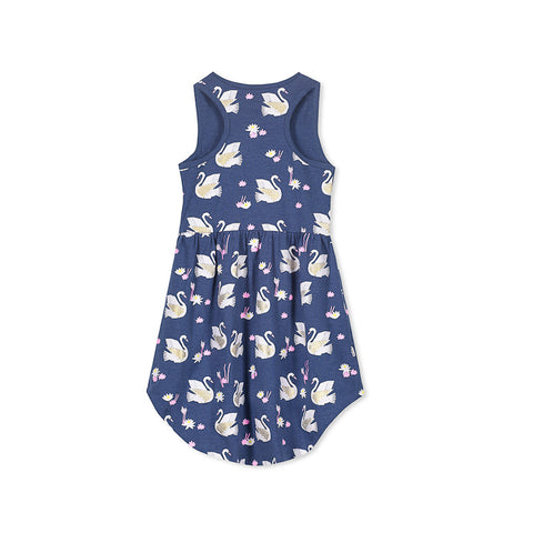 Milky Swans Dress - Denim