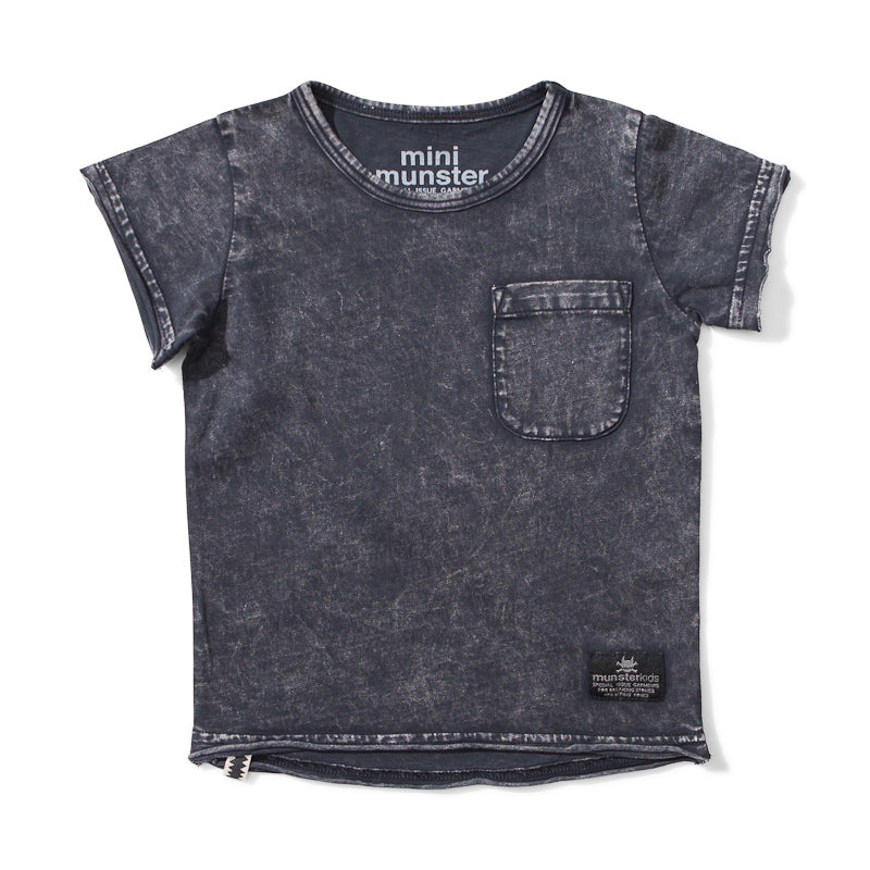 Mini Munster Stirred Jersey Short Sleeve Tee - Acid Black Tops Munster - Little Styles