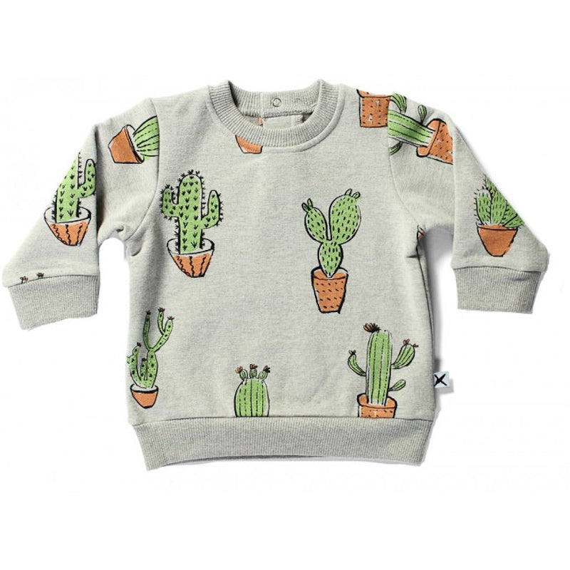 Minti Baby Furry Cruiser Crew - Grey Marle Tops Minti - Little Styles