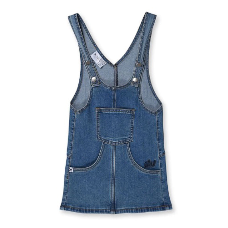 Minti Blasted Denim Dress Blue Wash Dresses Minti - Little Styles