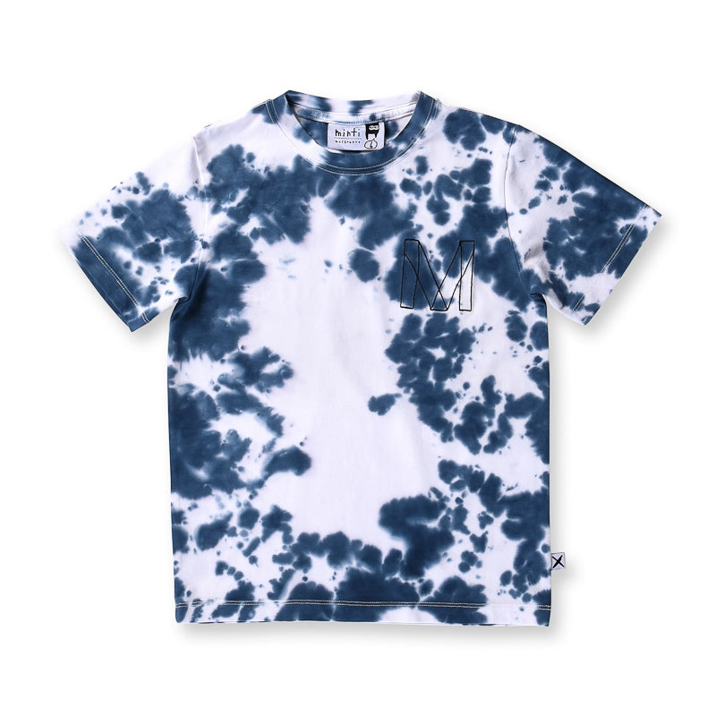 Minti Bleached Tee - White/Blue Tops Minti - Little Styles