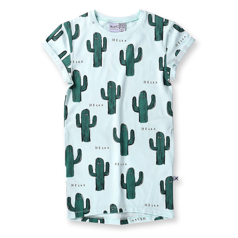 Minti Cactus Buddies Rolled Up Tee Dress - Ice