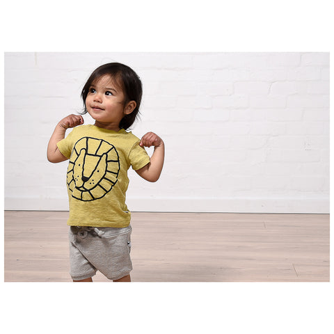 Minti Baby Circle Lion Tee - Yellow Marle