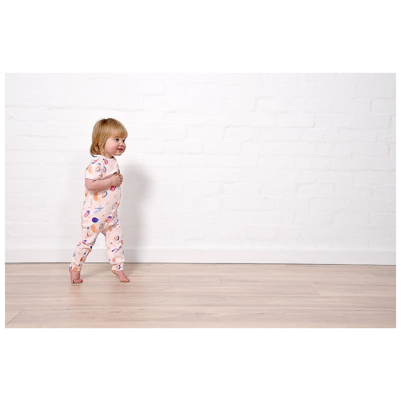 Minti Baby Coloured Pencil Summer Zippy Suit - Ballet Onesies Minti - Little Styles