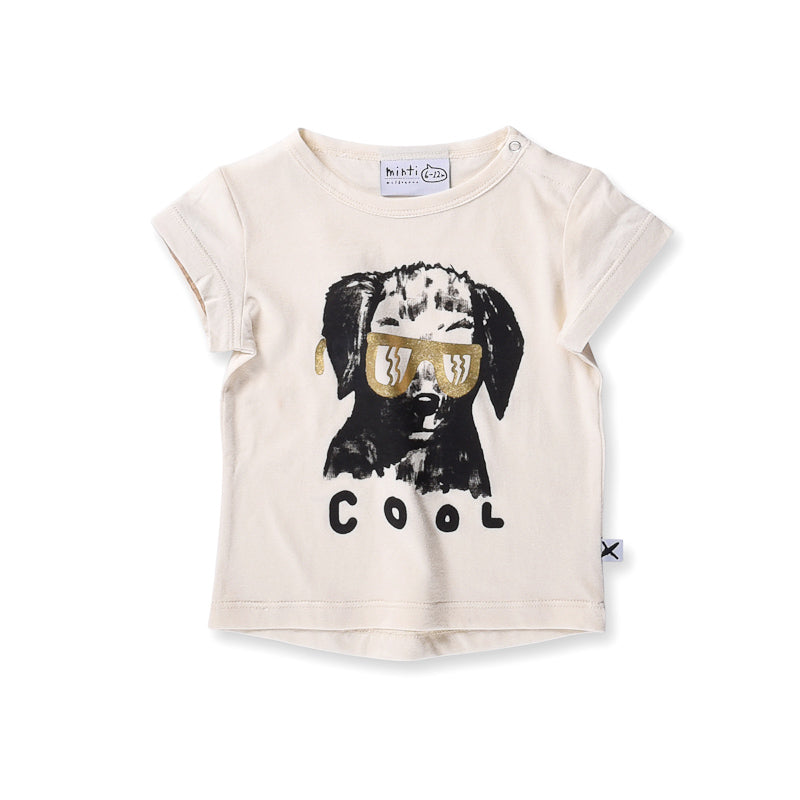 Minti Baby Cool Dog Tee - Cream Tops Minti - Little Styles