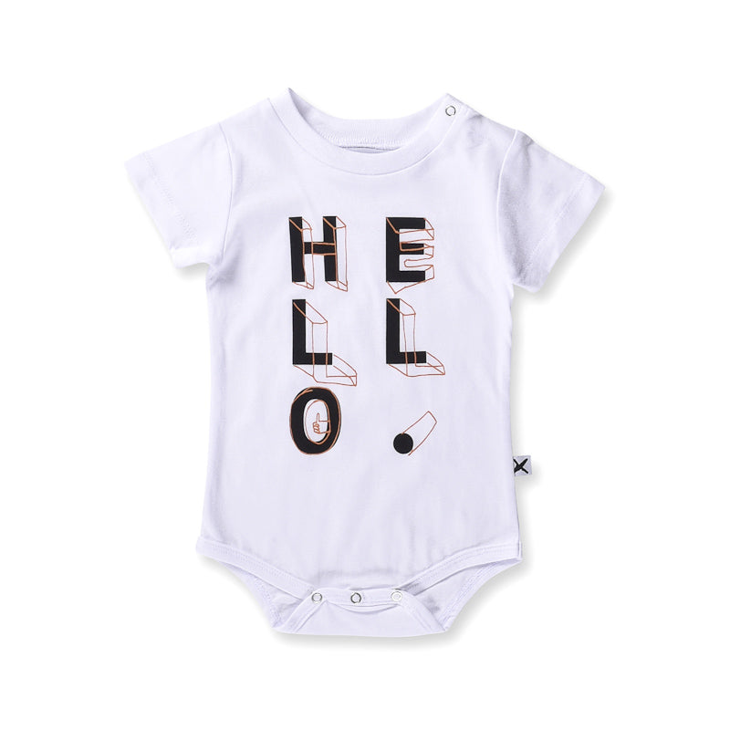 Minti Baby Hello Shapes Onesie - White Onesies Minti - Little Styles