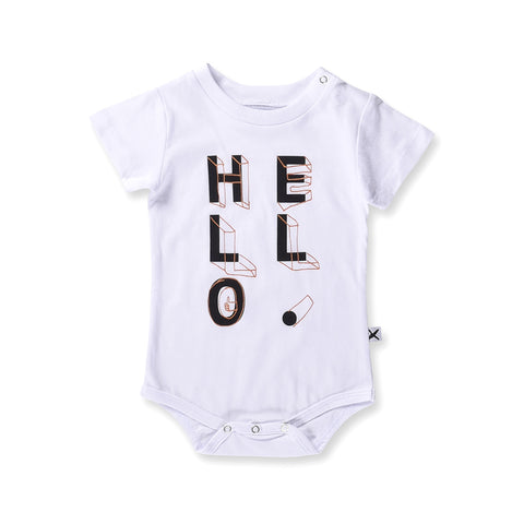 Minti Baby Hello Shapes Onesie - White