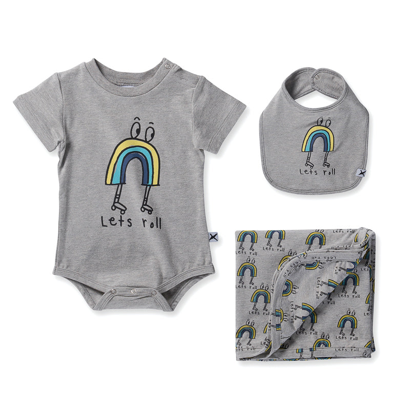 Minti Baby Lets Roll Gift Pack - Grey Marle Onesies Minti - Little Styles