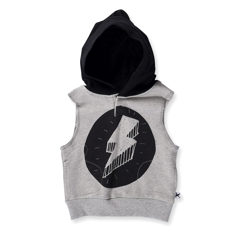 Minti Baby Lightning Bolt Sleeveless Hood - Grey/Black Tops Minti - Little Styles