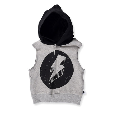 Minti Baby Lightning Bolt Sleeveless Hood - Grey/Black