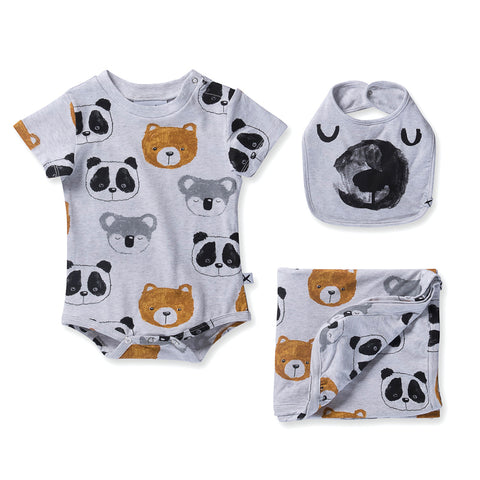 Minti Baby Painted Bears Gift Pack - White Marle