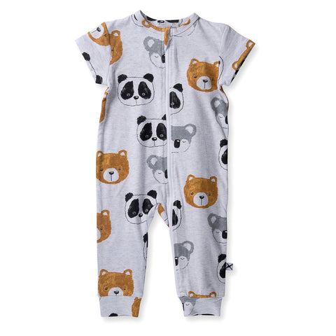 Minti Baby Painted Bears Summer Zippy Suit - White Marle