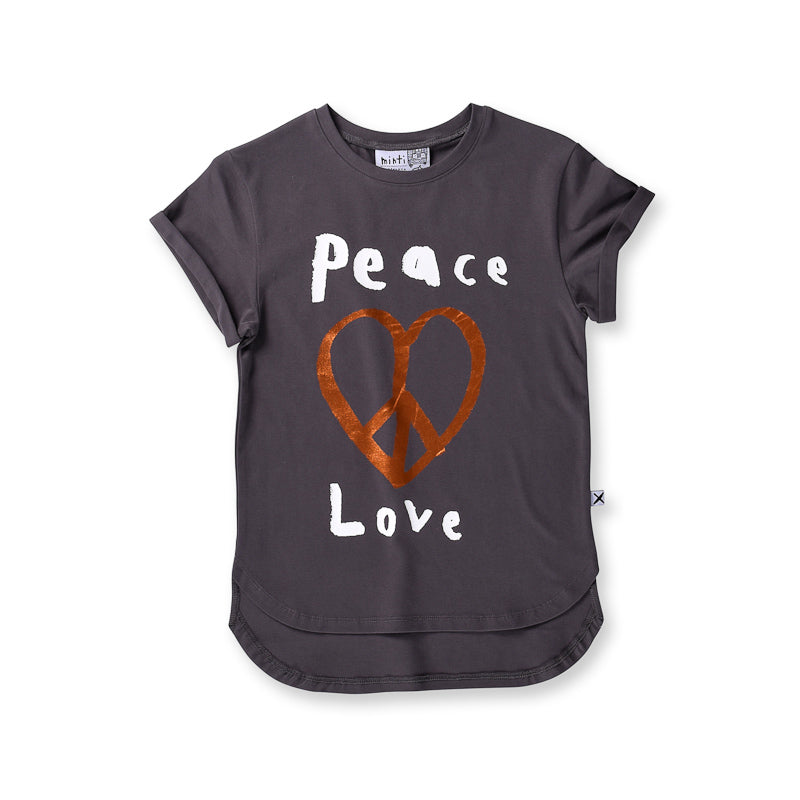Minti Peace Love Drop Tee - Dark Grey Tops Minti - Little Styles
