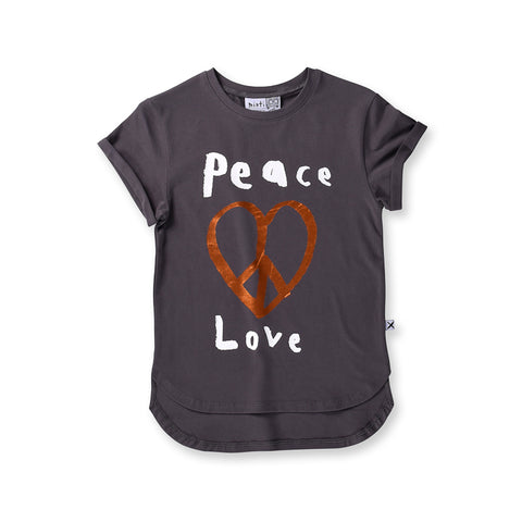 Minti Peace Love Drop Tee - Dark Grey
