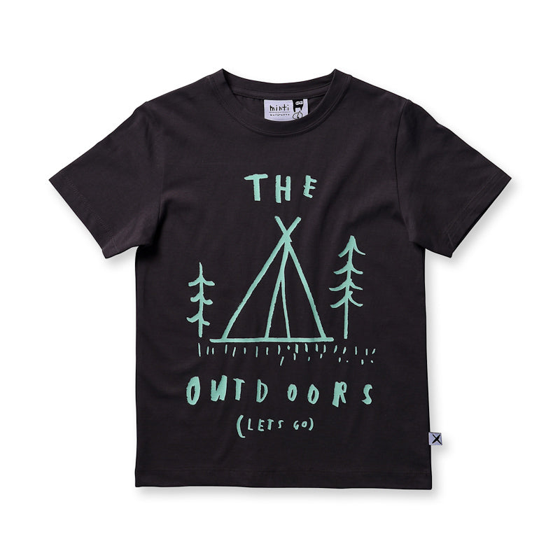 Minti The Outdoors Tee - Dark Grey Tops Minti - Little Styles