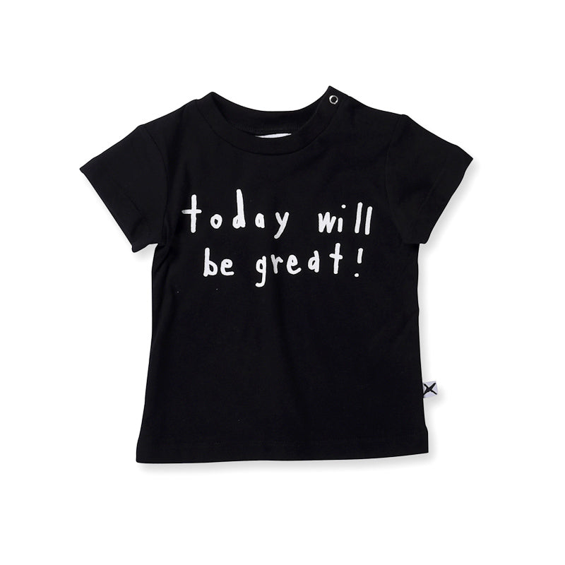 Minti Baby Today Will Be Great Tee - Black Tops Minti - Little Styles