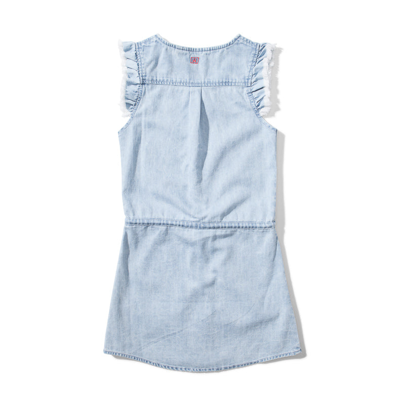 Missie Munster Fraya Cotton Denim Dress - Acid Blue Dresses Munster - Little Styles