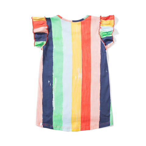 Missie Munster Happy Jersey Dress - Rainbow Stripe