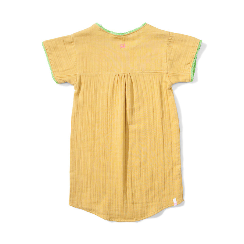 Missie Munster Khalo Cotton Cheeseclothe Dress - Gold Dresses Munster - Little Styles