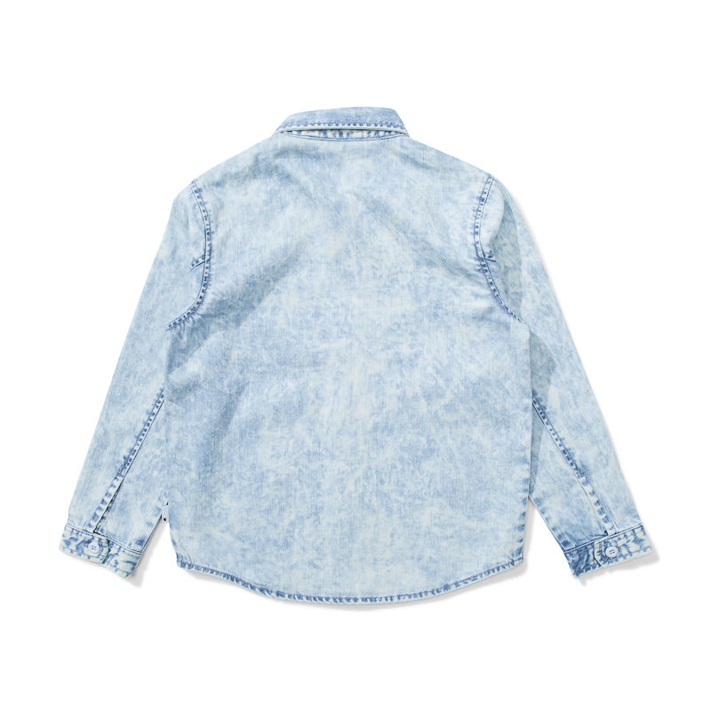 Munster Raker Denim Shirt - Acid Blue Tops Munster - Little Styles