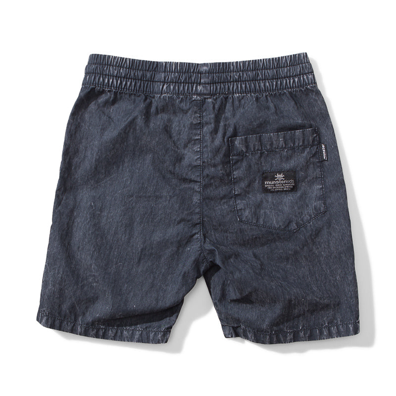 Munster Trash It Cotton Short - Mineral Black Shorts Munster - Little Styles