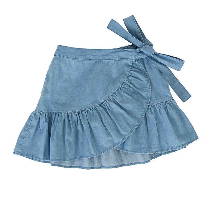 Peggy Amelie Wrap Skirt In Chambray Dresses Peggy - Little Styles