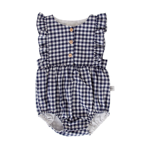 Peggy August Playsuit In Navy Check Gingham