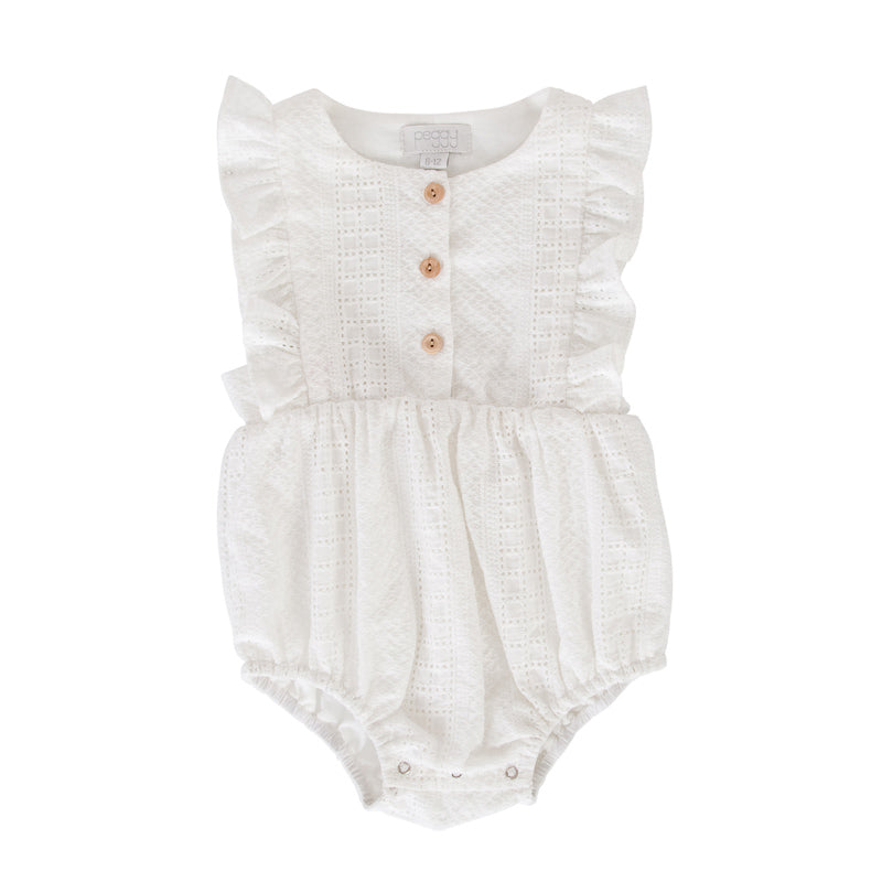 Peggy August Playsuit In White Broidere Playsuits Peggy - Little Styles