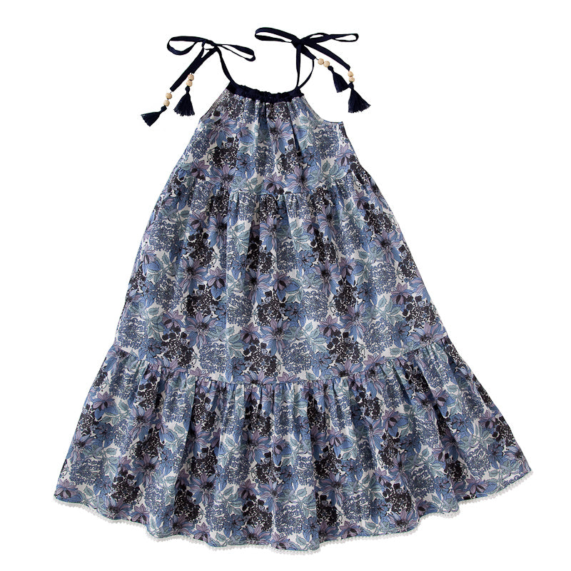 Peggy Bea Dress In Blue Floral Dresses Peggy - Little Styles