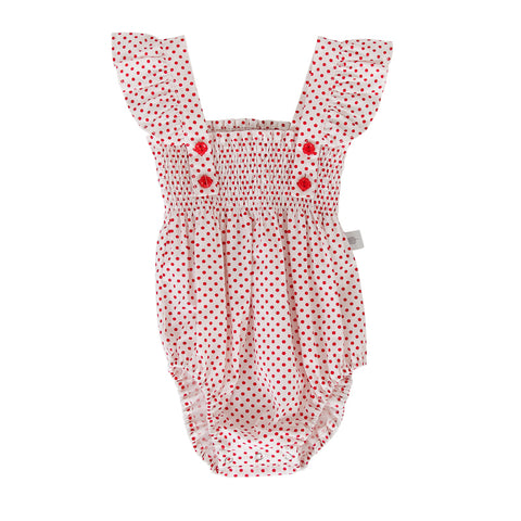 Peggy Edie Playsuit In White/Red Dot