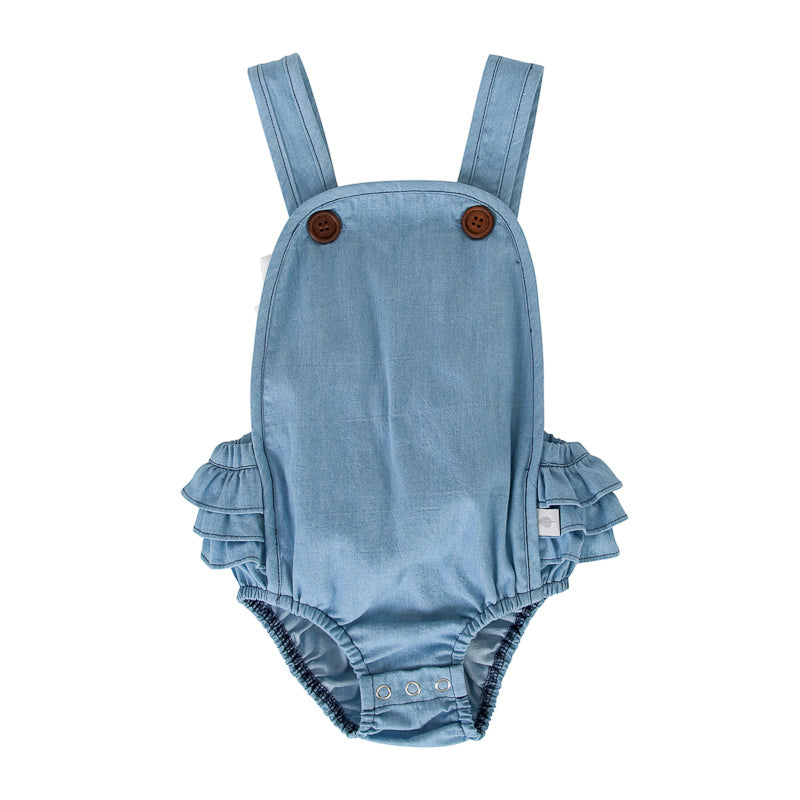 Peggy Jane Playsuit In Chambray Playsuits Peggy - Little Styles