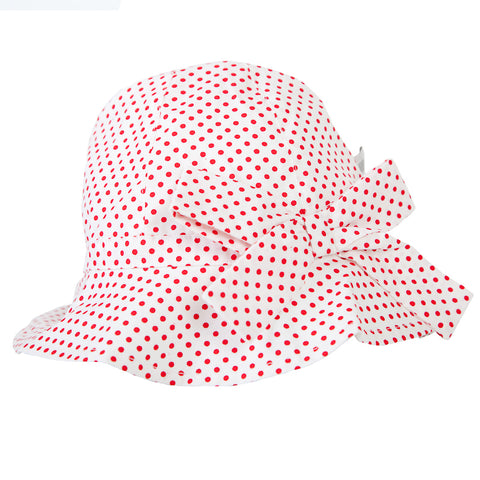 Peggy Melissa Hat In White/Red Dot