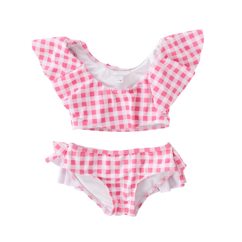 Peggy Sweeney Two Piece Swimsuit In Gingham Pink/Red Swimwear Peggy - Little Styles