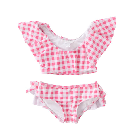 Peggy Sweeney Two Piece Swimsuit In Gingham Pink/Red