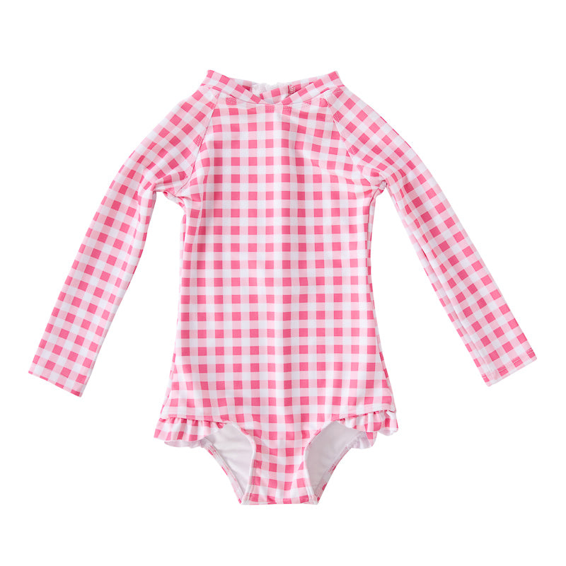 Peggy Violet Full Piece Swimsuit Style with Frill in Gingham Swimwear Peggy - Little Styles