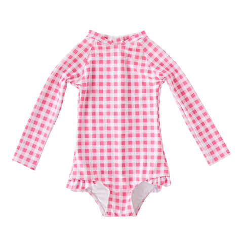 Peggy Violet Full Piece Swimsuit Style with Frill in Gingham