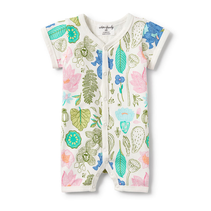 Wilson & Frenchy Flora Short Sleeve Open Front Boyleg Growsuit Onesies Wilson & Frenchy - Little Styles