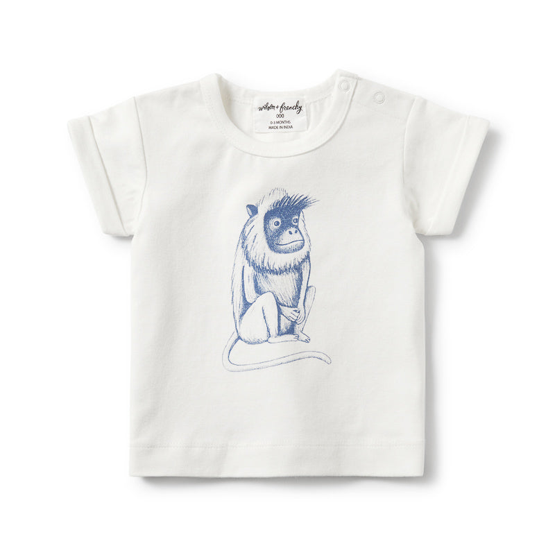 Wilson & Frenchy True Navy Cheeky Monkey Rolled Cuff Tee Tops Wilson & Frenchy - Little Styles