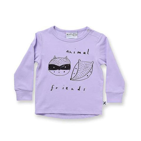 Minti Baby Animal Friends Drop Tee - Lilac