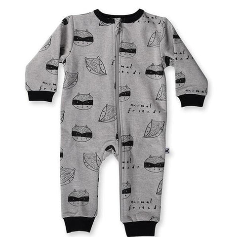 Minti Baby Animal Friends Furry Zip Up Suit - Grey Marle
