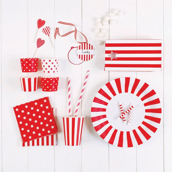 Paper Eskimo Cupcake toppers - candy cane hearts