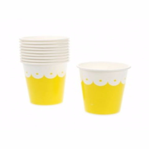 Lark Paper cups - yellow scallop