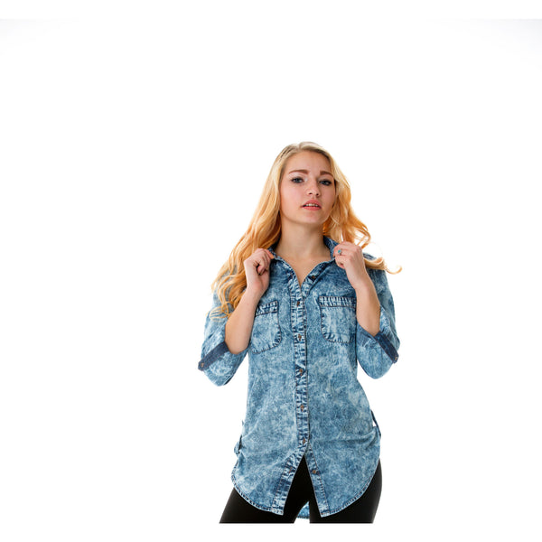 Roll Tide | Blue Roll-Tab Denim Button Up Shirt