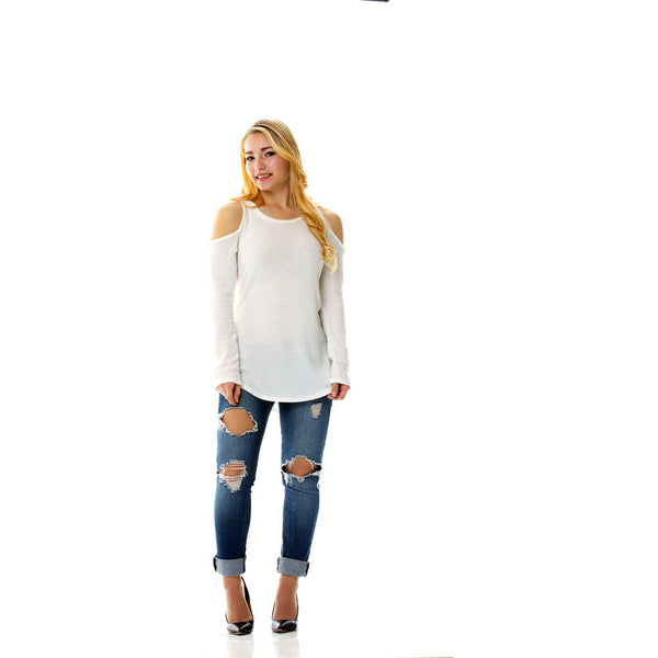 Cold Shoulder | White Long Sleeve Off The Shoulder Shirt