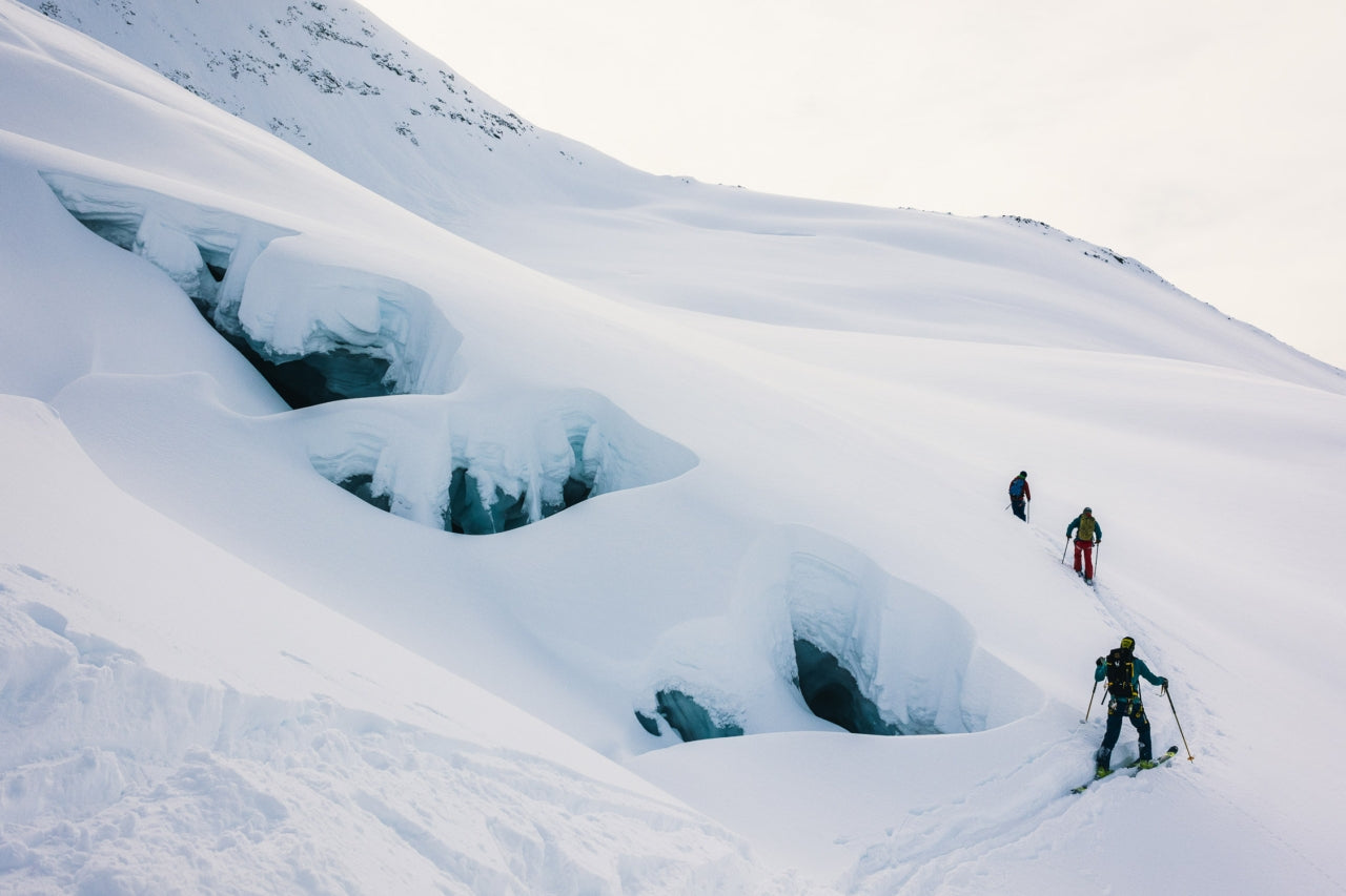 """The local guiding trio of Tomy Roy Aguiló, Juan """"Pipa"""" Raselli and Roberto """"Indio"""" Treu breaks trail on the flanks of Cerro Creston, one of the most popular ski zones around El Chaltén"""