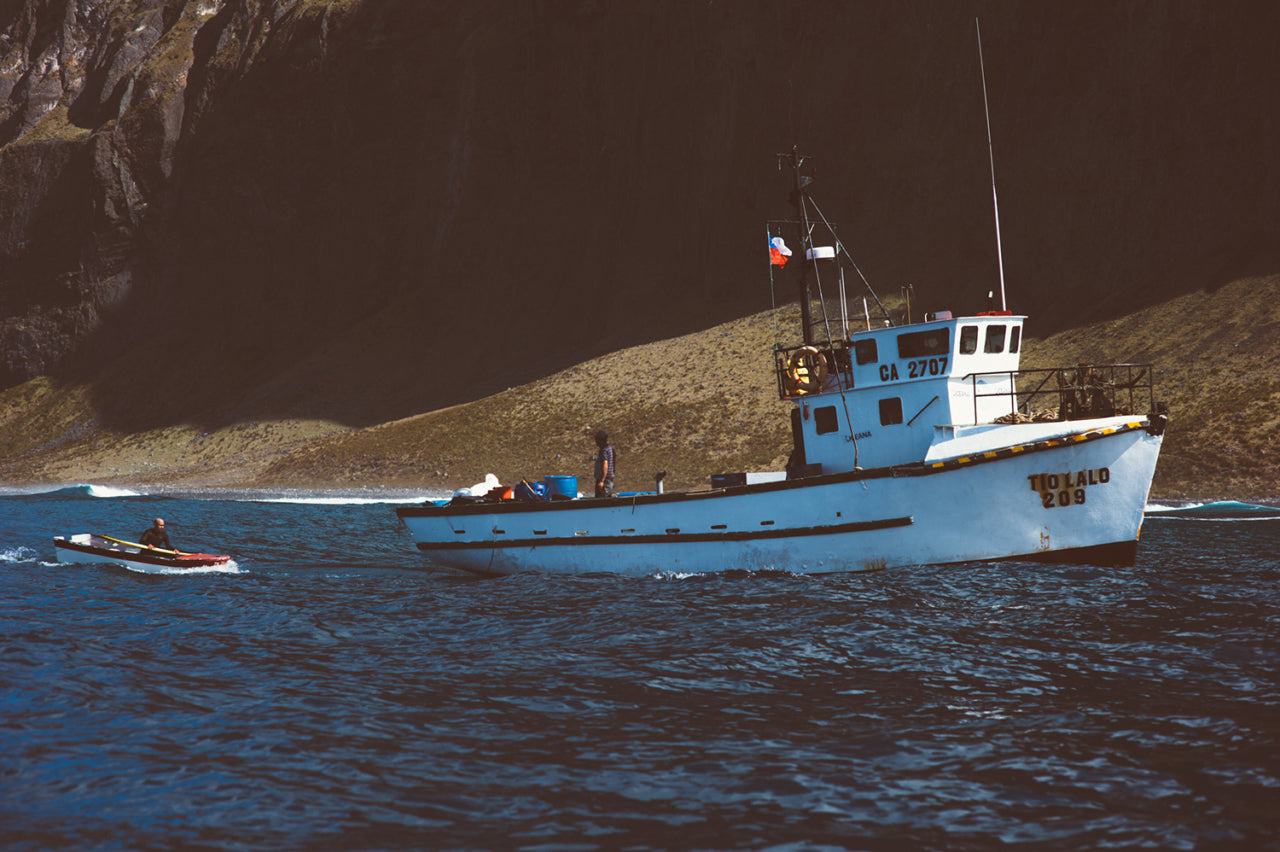 The supply ship Tio Lalo carried Léa and crew to Isla Alejandro Selkirk, one of the most remote surfable islands on the planet.