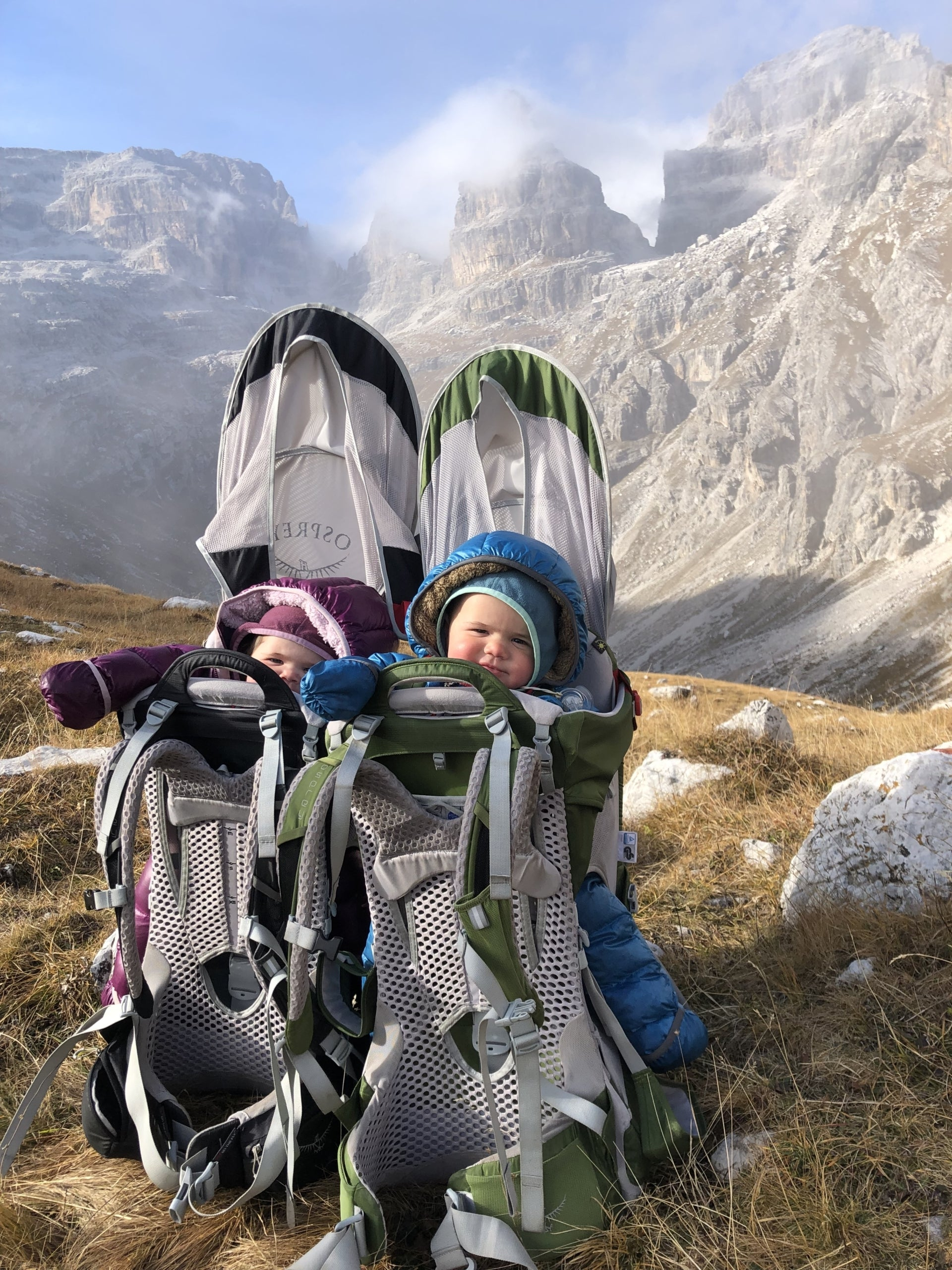 The twins, learning to love the mountains. Photo: Jasmin Caton.